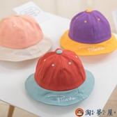兒童漁夫帽遮陽帽男女童字母拼色盆帽寶寶太陽帽子【淘夢屋】