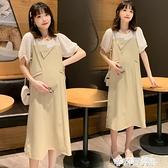孕婦夏裝連衣裙時尚個性洋氣減齡拼接假兩件夏天網紅潮媽長裙過膝 茱莉亞