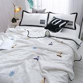 韓式可水洗毛巾繡夏涼被(含枕套)-白色帆船
