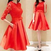 夏裝新款很仙的蕾絲紅色洋裝大碼中長款蓬蓬裙子結婚小禮服 居家物語