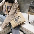 帆布包上新慵懶風帆布包包女新款時尚復古斜挎單肩包女學生簡約 大宅女韓國館