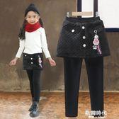 女童打底褲裙加絨加厚假兩件女孩中大童兒童褲子保暖外穿裙褲 歐韓時代