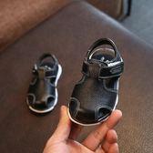 寶寶學步鞋男0-1-3歲真皮軟底包頭嬰兒涼鞋夏季新款潮童幼兒鞋子夢想巴士