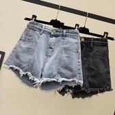 高腰牛仔短褲女2019夏新款韓版寬鬆學生顯瘦大碼胖mm毛邊闊腿熱褲
