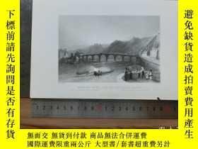 二手書博民逛書店【罕見】19世紀 銅 鋼版畫 單幅 BRIDGE OVER TH
