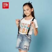 JJLKIDS 女童 時尚個性小女孩牛仔吊帶裙(淺牛仔藍)