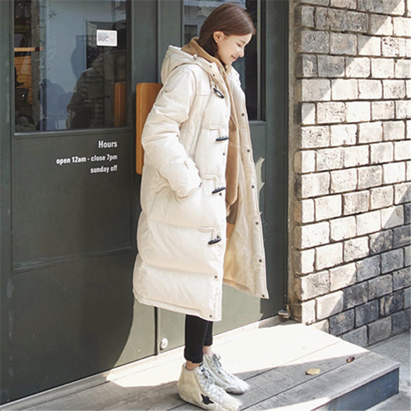 梨卡 - 正韓國空運鋪棉加厚牛角扣仿羽絨寬鬆防風大衣外套A334