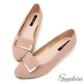 訂製鞋 美型金釦絨布尖頭鞋低跟鞋-艾莉莎ALISA【09A803】可可色下單區