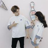 情侶裝潮韓版學生七分袖情侶T恤青少年圓領班服 時尚教主