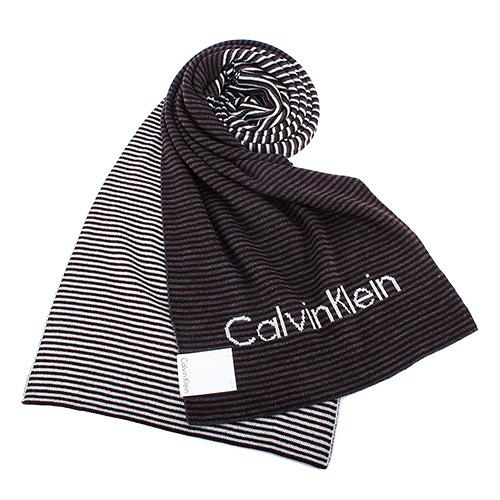 Calvin Klein雙拼色條紋圍巾(酒紅色)103214-3