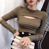秋冬新款修身洋氣內搭半高領打底衫鏤空上衣長袖子割破t恤女   koko時裝店