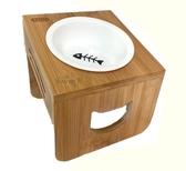 【寵愛家】CARNO 卡諾寵物竹座餐桌附瓷碗,高碗架斜面-單碗