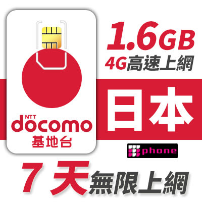 【TPHONE上網專家】日本DOCOMO上網卡 前面1.6GB支援4G高速 7天無限上網