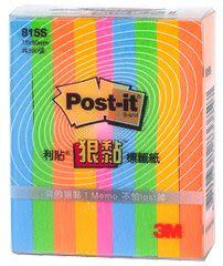 [奇奇文具] 【3M Post-it 狠黏 標籤紙】 3M 815S 狠黏利貼標籤紙/便利貼/便條紙(5色/組)