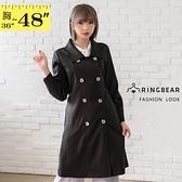 風衣外套--方型領口雙排扣鬆緊腰中長款素面西裝外套(黑L-3L)--J348眼圈熊中大尺碼西裝領