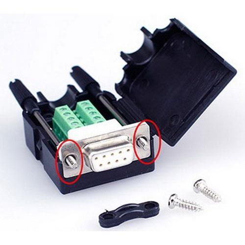 DB9P 母免焊式DIY接頭組合包 (長螺絲)