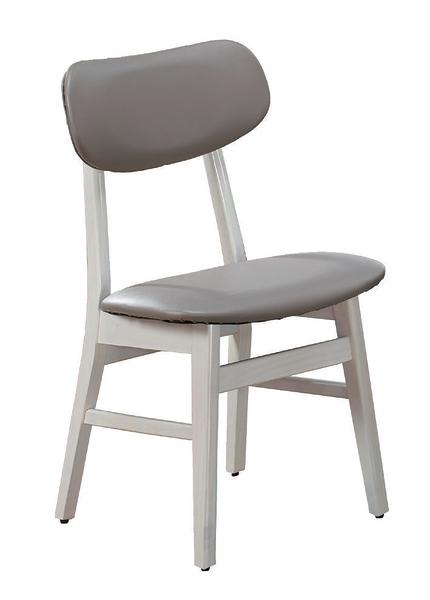 【 IS空間美學】溫尼洗白色灰皮餐椅