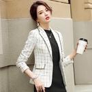 小西裝外套.韓版秋季格子西裝外套女年新款...
