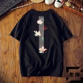 短袖T恤男中國風印花潮流寬松大碼純棉打底衫半袖體恤【左岸男裝】