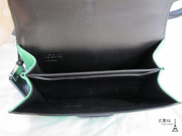 【巴黎站二手名牌專賣店】*現貨*LOEWE 羅意威 真品*Barcelona BAG系列三角釦飾設計肩/斜背包(綠)