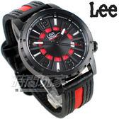 Lee 數字輪盤 多彩搭配潮流腕錶 皮帶 男錶 IP黑色x紅 LES-M35DBL5-15A