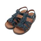 DMK 牛皮花朵縫線厚底涼鞋 藍 女鞋 鞋全家福