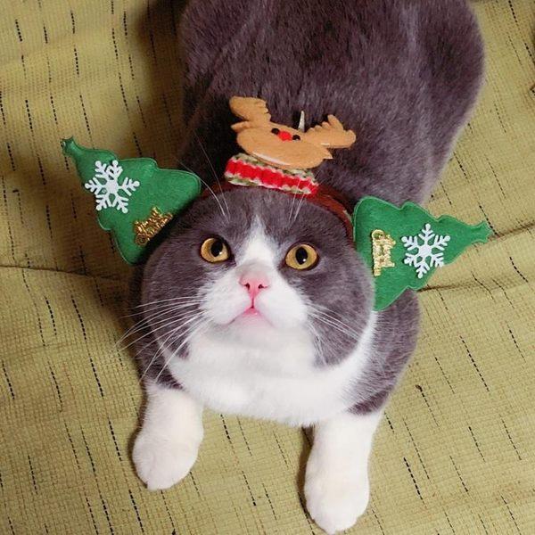 618大促 狗狗貓咪帽子貓頭飾小貓頭套可愛裝扮寵物圣誕帽生日帽子
