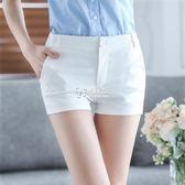 韓版熱褲子休閒褲西裝短褲女修身顯瘦職業薄款短女褲   卡菲婭