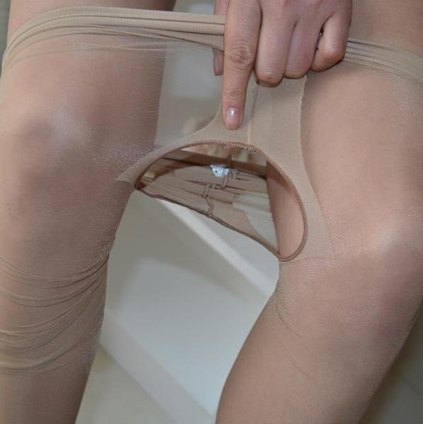T檔無痕超薄隱形連褲襪小開檔誘惑免脫性感腳尖透明情趣黑肉絲襪