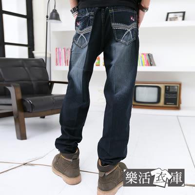 韓版電繡圖騰後口袋伸縮直筒牛仔褲@樂活衣庫【6770】