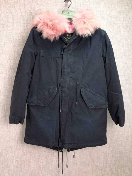 ■專櫃64折■全新真品■Mr&Mrs Fur Italy紐約系列狐狸毛皮草連帽大衣 粉色領 S