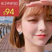 耳環 個性 花瓣 鑲鑽 簡約 清新 耳鈎式 圓形 耳環 【DD1804120】 BOBI  05/24