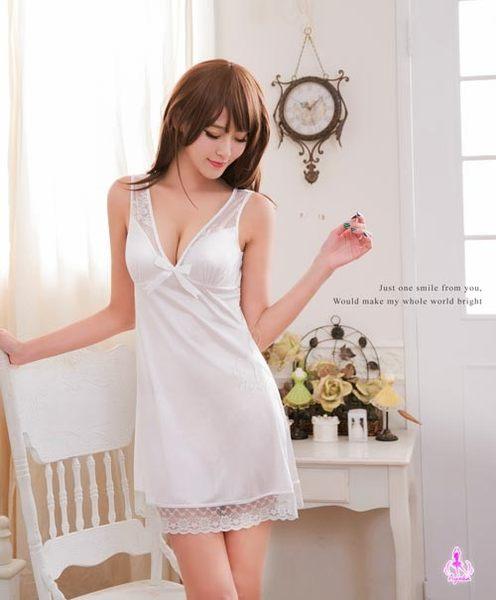 睡衣 性感睡衣 白色戀曲性感深V柔緞情趣性感睡衣 星光密碼C033