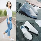 夏季新款小白女鞋百搭淺口懶人韓版單鞋春季透氣一腳蹬白鞋 雙12全館免運