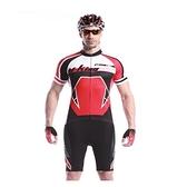 自行車衣套裝-含短袖腳踏車服+單車褲-專業夏季騎行高彈男運動服69u3[時尚巴黎]