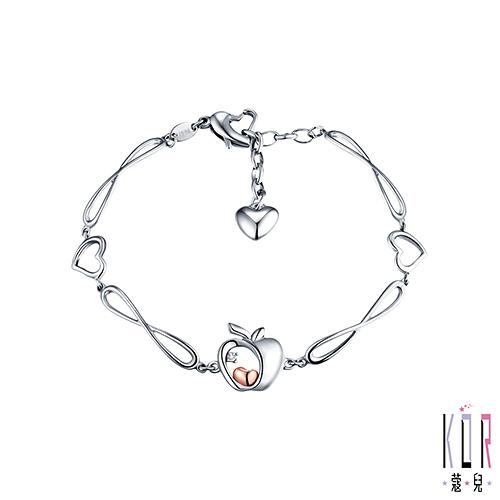 K'OR蔻兒 晶蘋果 鑽石/K金白鋼手鍊-B款-0.01克拉