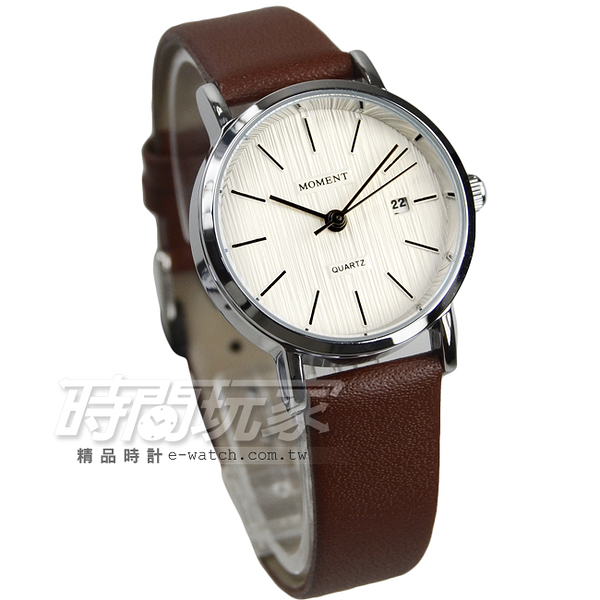 MOMENT舜時 原裝日本機蕊 精密防水時尚腕錶 咖啡色 女錶 石英錶 日期視窗 MO8101咖小