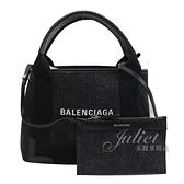 茱麗葉精品【全新現貨】BALENCIAGA 巴黎世家 390346 NAVY CABAS XS 單寧皮飾邊手提兩用包.深藍