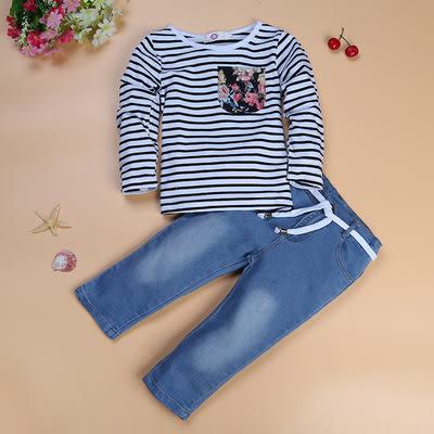 歐美風新款女童套裝 條紋長袖上衣+牛仔長褲兩件套- 預購