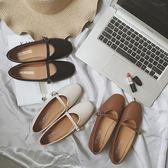 新款女鞋女式圓頭平底平跟小皮鞋一字扣娃娃鞋   歐韓時代
