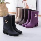 雨鞋女成人中筒水鞋短筒雨靴女式時尚防滑輕便厚底楔形雨鞋韓版防水靴  居家物語