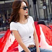 正韓白色純棉圓領T恤女短袖夏季上衣修身純色百搭打底衫簡約體恤【喜迎盛夏好康爆賣】