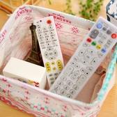 棉麻雜物儲物小籃子桌面收納盒布藝防水整理框