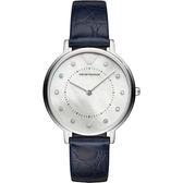 【台南 時代鐘錶 Emporio Armani】亞曼尼 AR11095 義式美學古典品味時尚腕錶 皮帶 銀/深藍 32mm