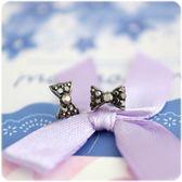 耳環 蝴蝶結系列 - 亮黑蝶 透明耳針 (單只價) i917ღ
