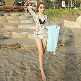 潛水衣   韓版長袖防曬印花拼接拉鏈連體泳衣女緊身速干潛水服三件套水母衣