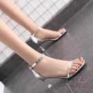 歐美風新款高跟鞋女夏細跟低跟涼鞋子貓跟法...