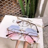 墨鏡 街拍墨鏡女韓版潮復古原宿風太陽鏡漸變色平光眼鏡框 非凡小鋪