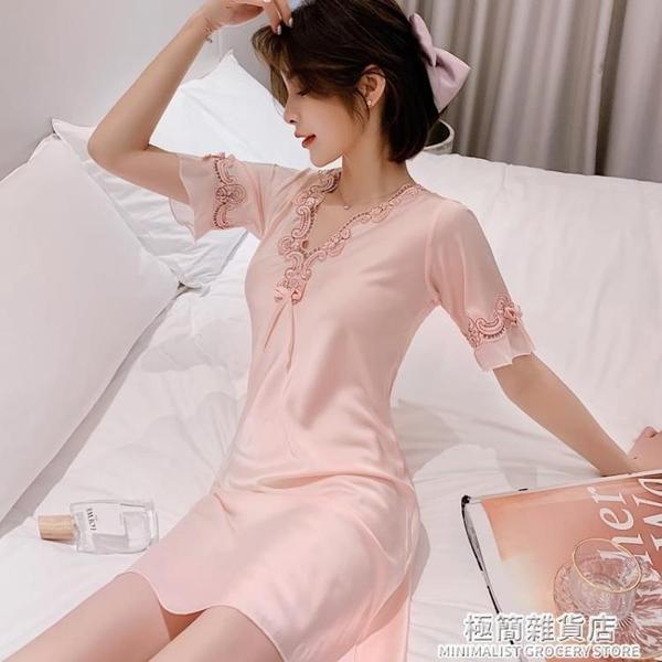 睡衣女夏季薄款短袖蕾絲韓版性感絲綢寬松大碼冰絲睡裙新款家居服 極簡雜貨