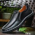 黑色真皮英倫透氣商務繫帶休閒鞋子